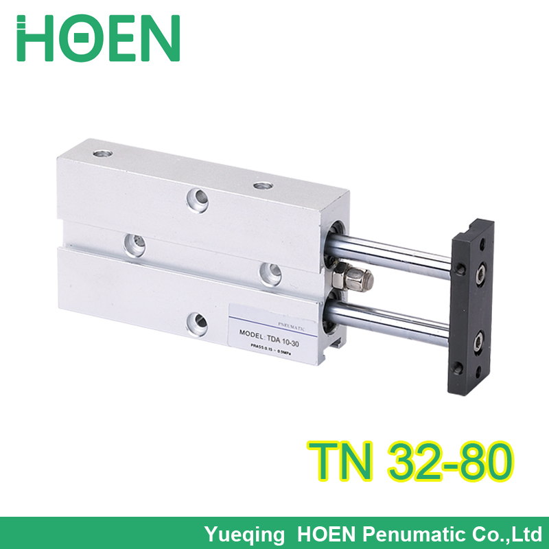 TN / TDA Dual Acting 32mm Bore 80mm Stroke Double Rod Pneumatic Air Cylinder TDA32*80 TN32-80 tn 32-80 tn 32*80 32x80 model single rod double acting pneumatic cylinder cdj2b16 80