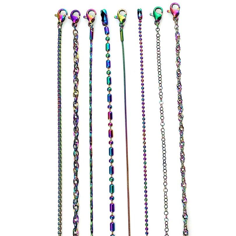 6 стилей; Радуга Цвет нержавеющая звено цепи змейки водная волна попкорн бусы колье для женщин девочки; дети ювелирных изделий