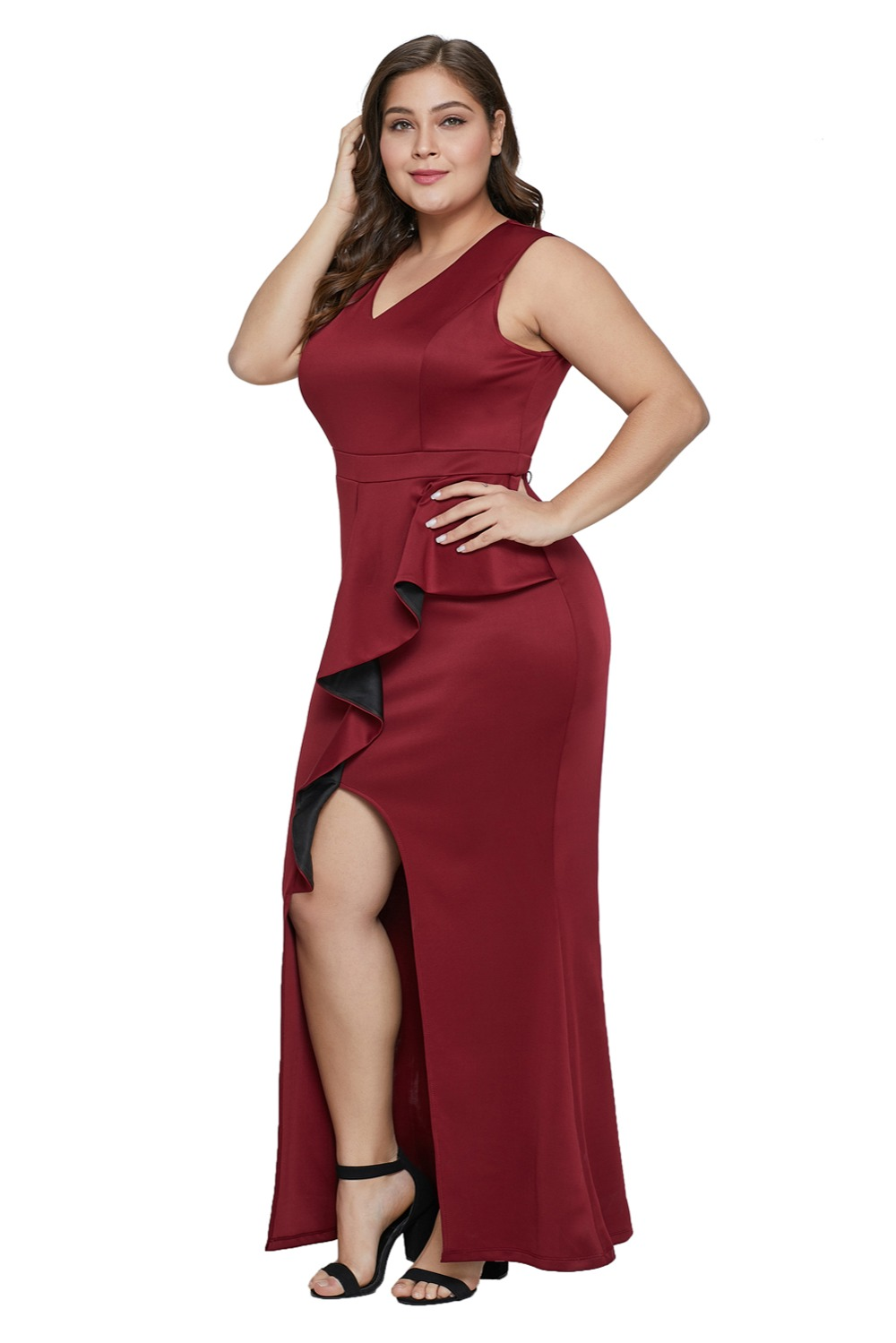 Red-Plus-Ruffle-Enchantment-Dress-LC610952-3-3