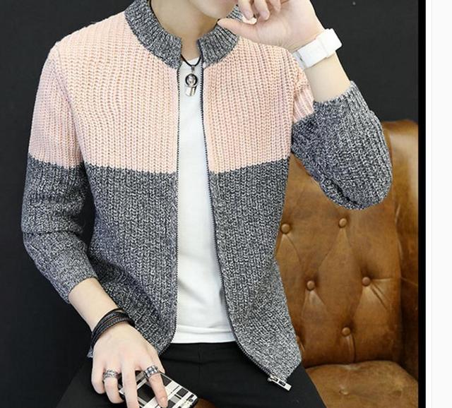 78c64c60b 2018 novo camisola de Malha cardigan colarinho jovem Coreano casaco camisola  dos homens no outono e