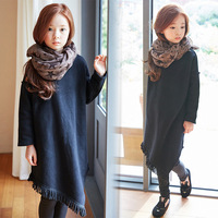 Autumn Winter Girls Dress Graceful All Match Long Sleeve Warm Dress With Tassel For 3 12