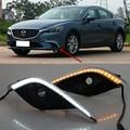 Frete Grátis, 2x LED DRL Daytime Driving Day Correndo Fog Lâmpada Luzes w/Sinais de Volta Para A Mazda 6 Atenza 2017-up