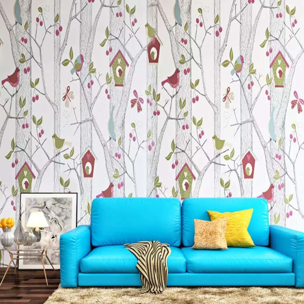 3d Mural Floral Wallpaper Carton Tree Bird Wall Paper Roll For