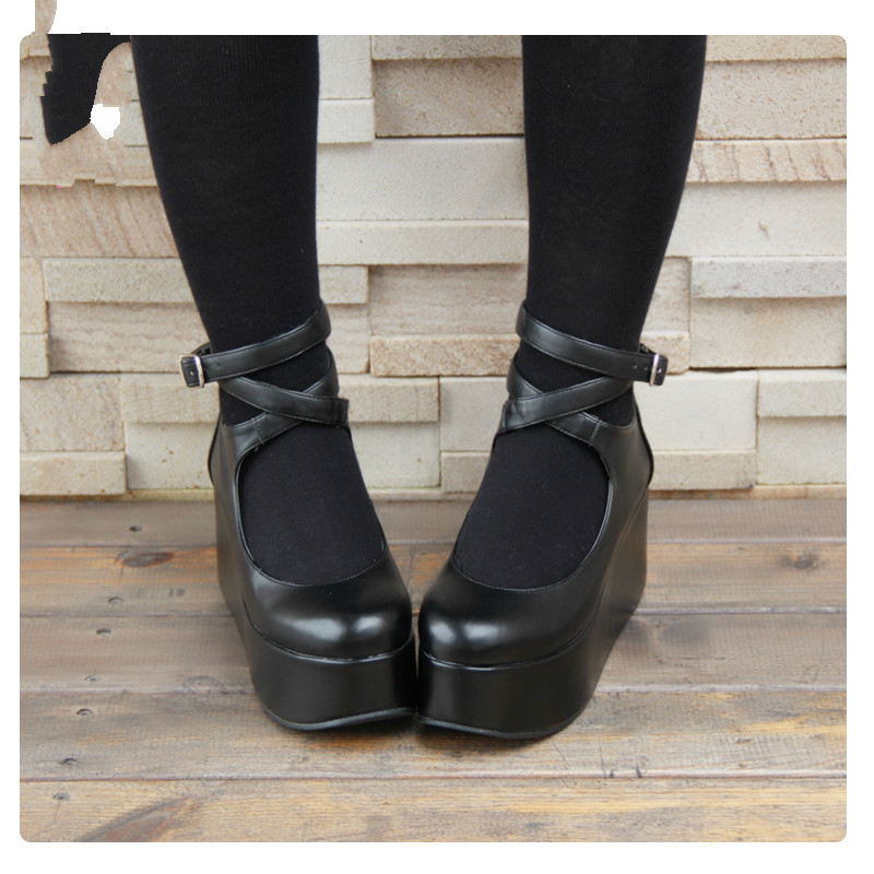 Princess sweet punk shoes LOLTIA shoes with thick bottom slope belt with COS animation platform sweet shoes women pu8190 кеды sweet shoes