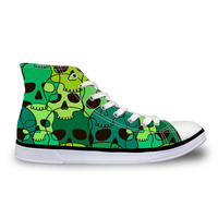 Noisydesigns Women sneakers Casual Green skull print flat vintage Canvas Vulcanized shoes high top lace up flats Girl outdoor