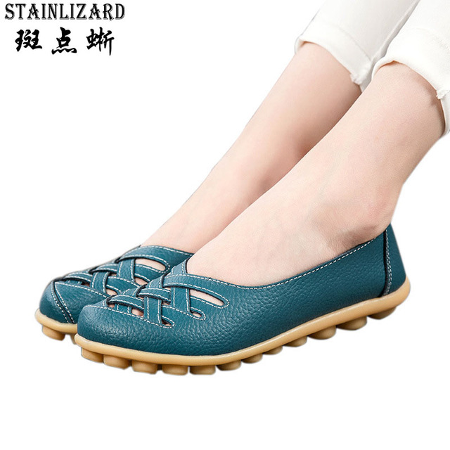 2017 Summer New Fashion PU Leather Women Flats Moccasins Comfortable Woman Shoes Cut-outs Leisure Flat Woman Casual Shoes ST181