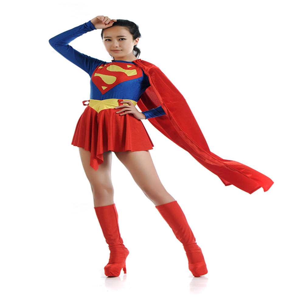 new Adult Supergirl Costume Cosplay Super Woman/girls kids hero Sexy Fancy Dress with Boots Girls Superman Halloween Costum