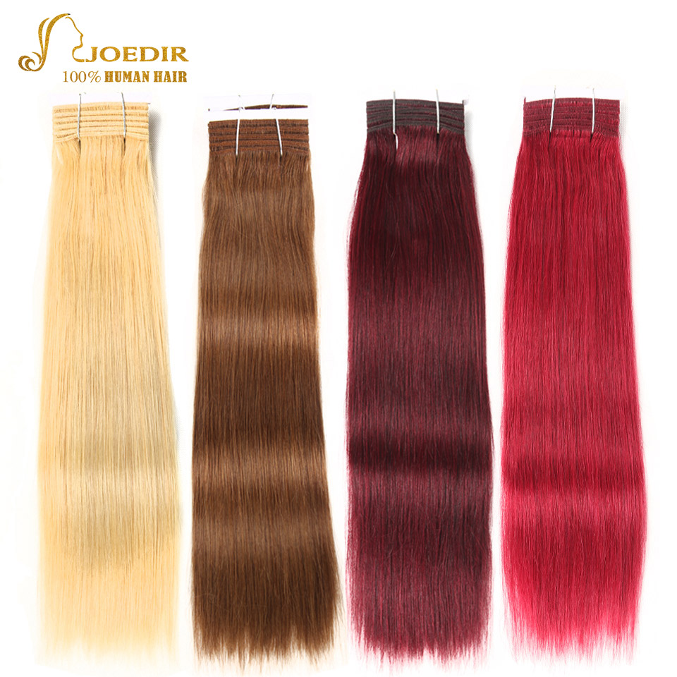Joedir Double Drawn Remy Ombre Color Blonde Burgundy Red Hair 99J Hair Bundles Brazilian Straight Human Hair Weave Bundles ...