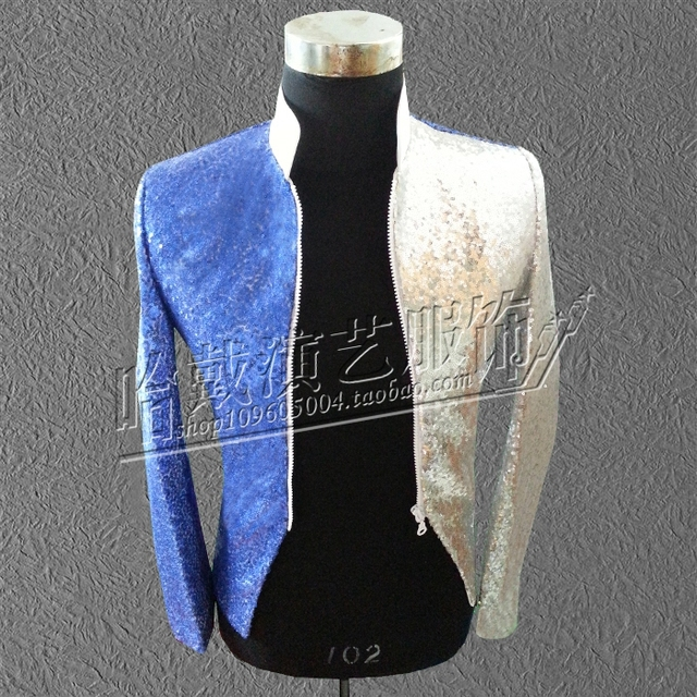 S-5XL!!!  2018  Fashion new blue silver costumes Sequins zipper cultivate one's morality A male singer performance stage