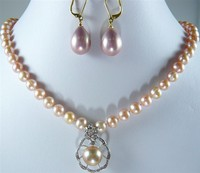 Wholesale Noblest 8mm 17 Pink Shell Pearl Necklace Nice Design 12mm Pendant Necklace Earrings Set S001