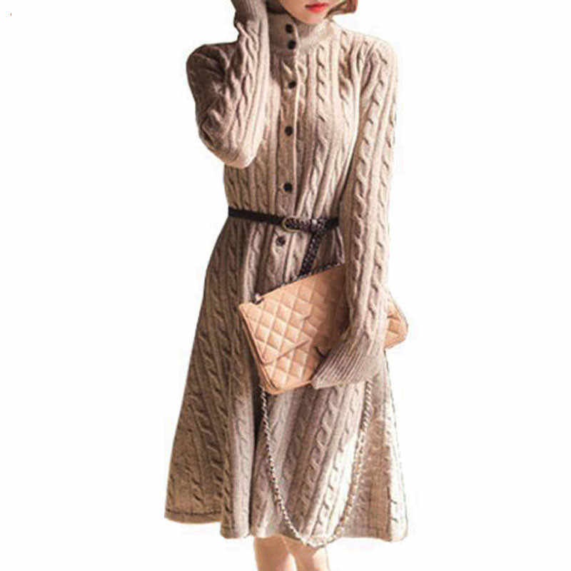 2018 Autumn Winter Women Long Sweater Dress Fashion Slim Cable Vintage Female Single Breasted Knee Length Belt Knitted H25