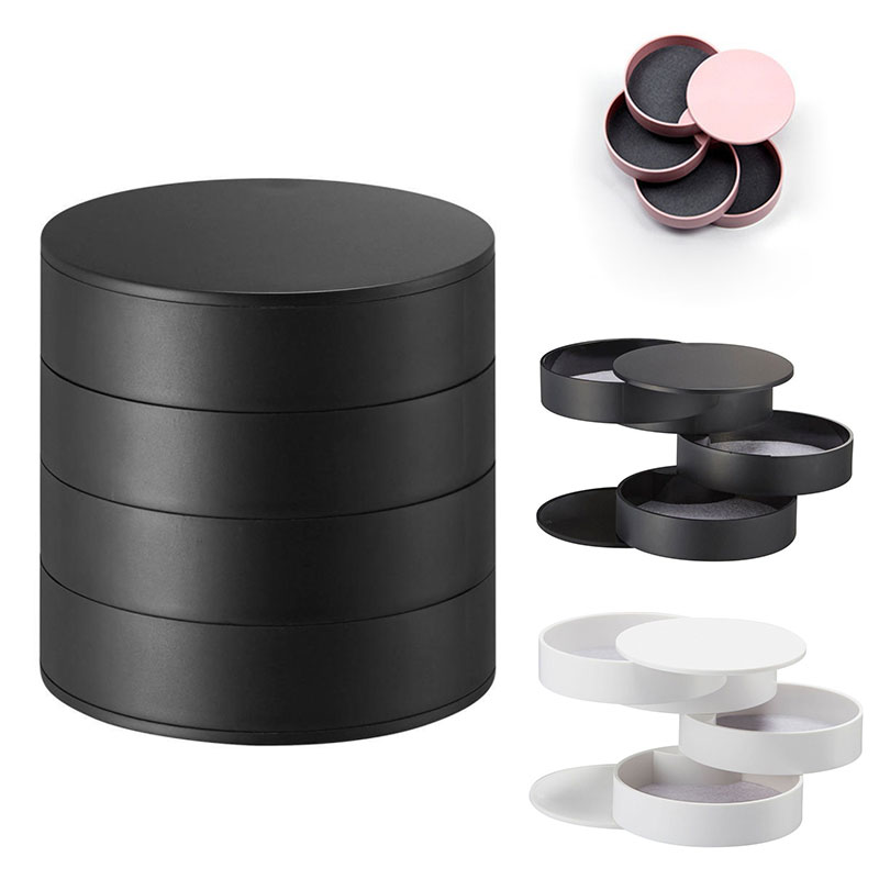 Rotatable Jewelry Box 4 Layers With Lid Round Shape Case For Ring Earrings Necklace CX17