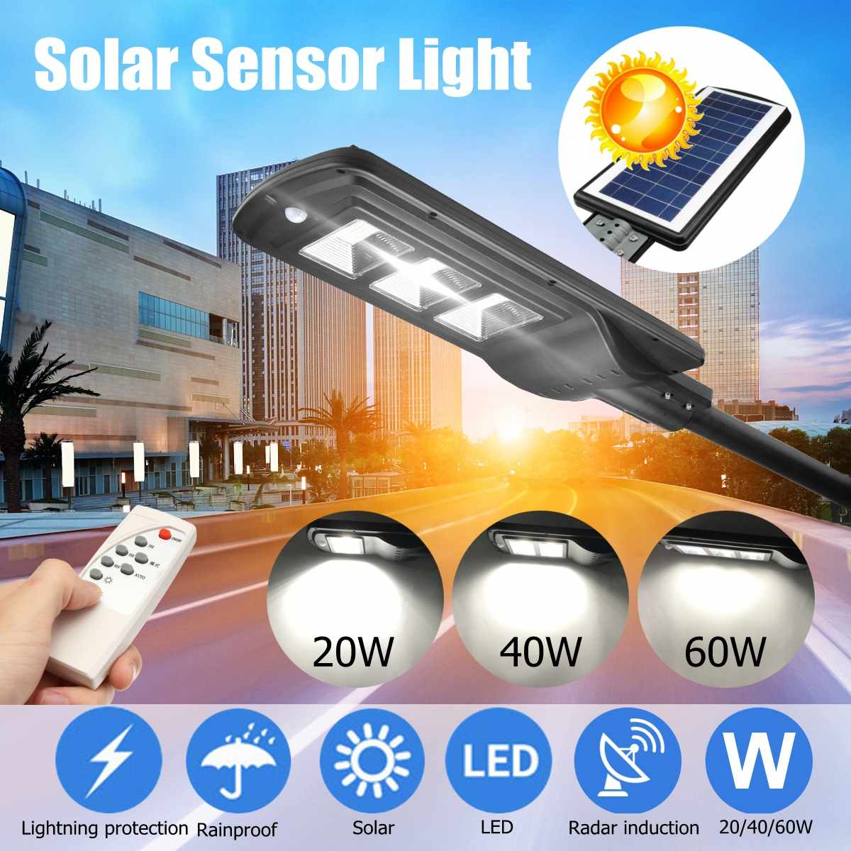 60/40/20W PIR Motion Solar Sensor LED Wall Street Light Lighting Waterproof Remote Control Lamp for Outdoor Garden Courtyard60/40/20W PIR Motion Solar Sensor LED Wall Street Light Lighting Waterproof Remote Control Lamp for Outdoor Garden Courtyard
