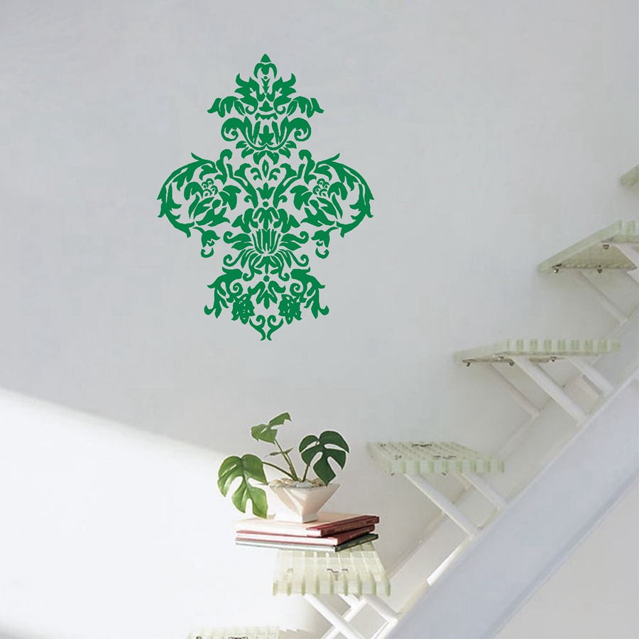 Free shipping Large Damask - Vinyl Wall Decal Art Baroque Sticker Home Decor Graphic T3024