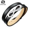 Jiayiqi Fashion Black Leather Bracelet Male Infinite Steel Bracelets & Bangles for Men Jewelry Accessories Gift