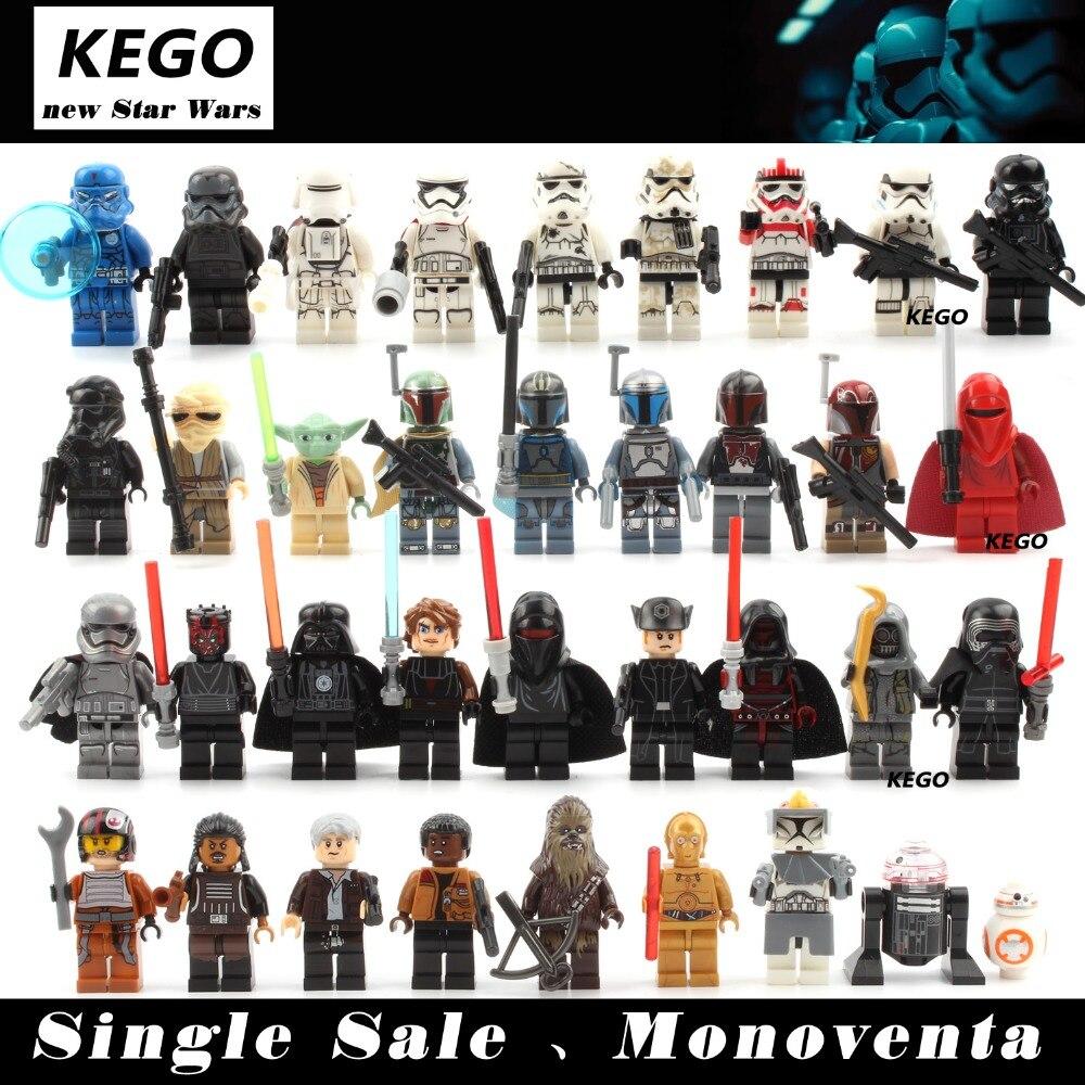 Star Wars Minifigures Single Sale darth Vader R2D2 Leia Boba Fett Clone Trooper Kylo Ren Figures Blocks Building Toys