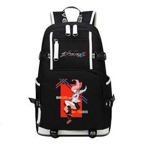 Image 4 - DitF mochila de viaje de DARLING in the FRANXX para mujer, bolso escolar de lona para adolescentes y niñas, ICHIGO MIKU ZERO TWO Cos