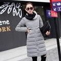 2016 Novo inverno amassado outerwear jaqueta feminina de forma magro médio-longo para baixo jaqueta de algodão Feminino