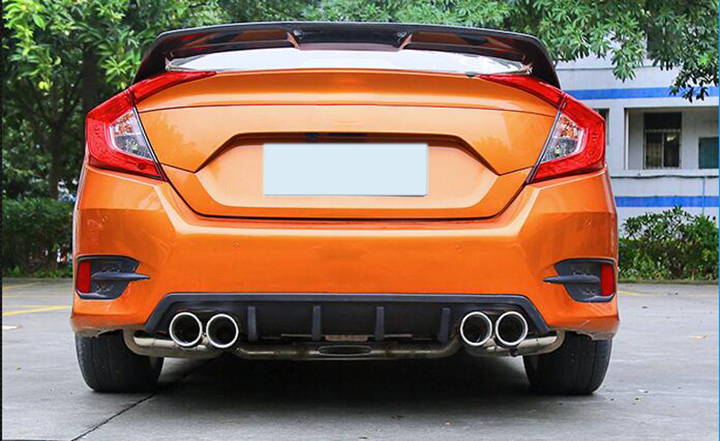 Sunfada Sport Style Car Rear Bumper Diffuser Spoiler Upgrade Replacement Exhaust Pipe For Honda Civic Sedan 10th Gen 2016 2017in Chromium Styling From: 2016 Civic Dual Exhaust At Woreks.co