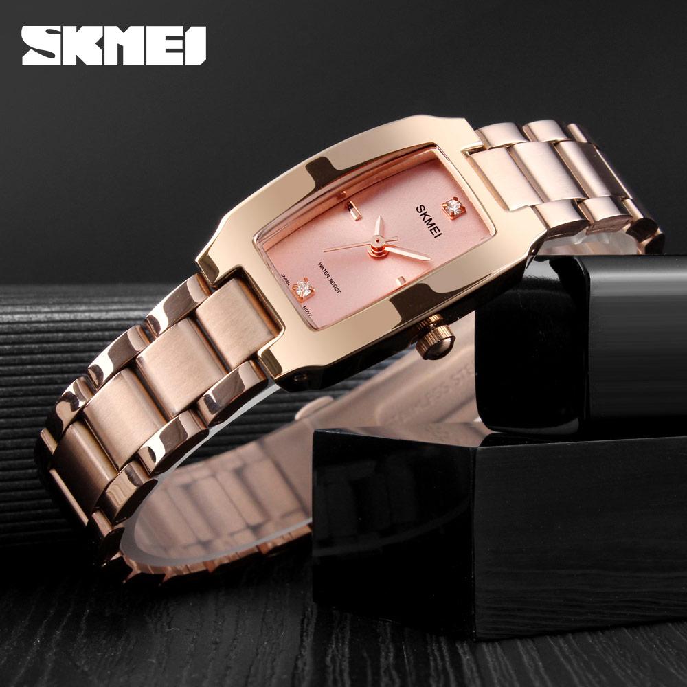 SKMEI Quartz Watch Fashion Thin Watches Ladies Casual Dress Luxury Silver Ladies Rhinestone Waterproof Relogio Feminino 1400