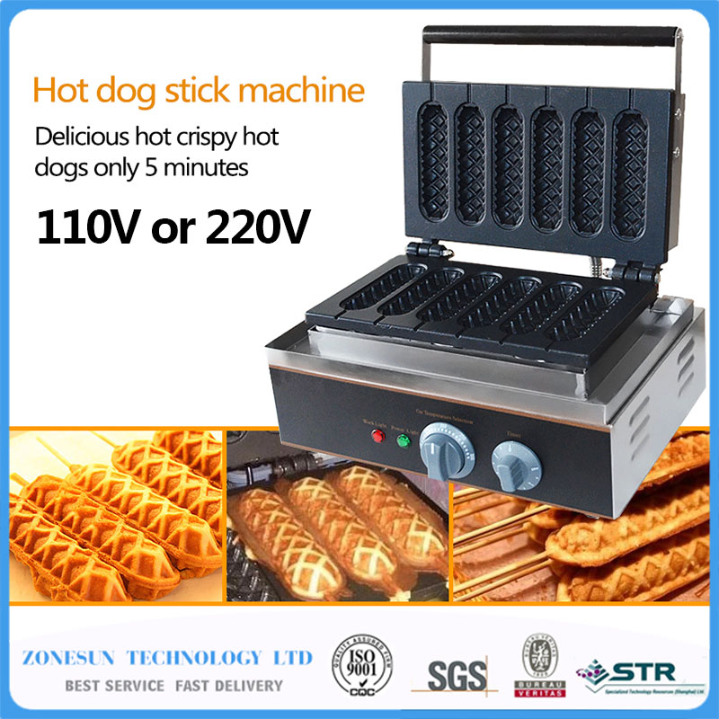 Free-Shipping-Commercial-Use-Non-stick-5pcs-110v-220v-Electric-French-Hot-Dog-Waffle-Stick-Iron