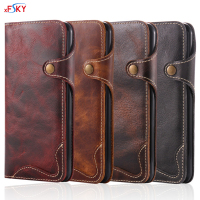 XFSKY 5 Colors European Style Leisure Retro Import Genuine Leather Wallet Phone Case With Credit Card