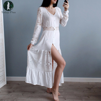 Today Plus 2017 Fashion Women Dresses Summer Bohemia Maxi Beach Lace V Neck Long Sleeve Solid