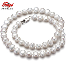 Feige Special offer Baroque style 7-8MM White Natural Freshwater Pearl Choker Necklace for Women's Fine Pearl Jewelry Bijoux jew2605 baroque white reborn keshi pearl necklace a0329
