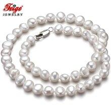 Einige Mängel Weiß Natürliche Barock Süßwasser Perle Choker Halskette für Frauen Geschenke Mode Perle Schmuck Großhandel FEIGE