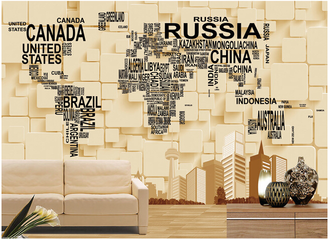 Custom papel DE parede para quarto large murals 3 d map of the world for the sitting room bedroom TV wall vinyl papel DE parede custom papel de parede infantil cartoon world map murals for children room boys and girls bedroom wall waterproof wallpaper
