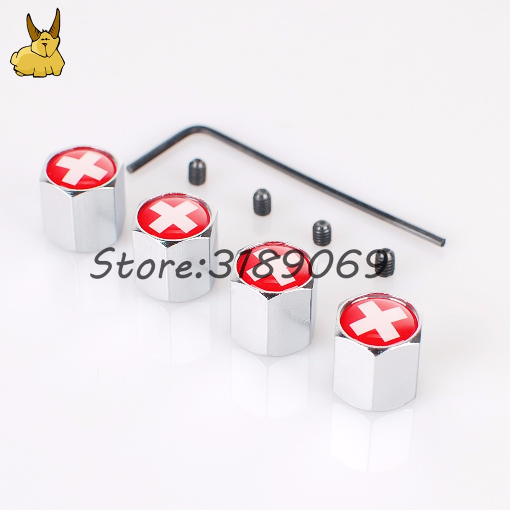 4pcs Car Universal Wheel Tire Valves Tyre Stem Air Caps Airtight Cover for Swiss flag logo mini cooper Vw golf 5 nissan qashqai