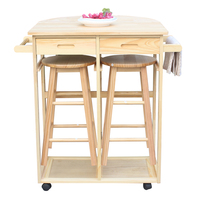 FCH Semicircle Solid Wood Folding Dining Cart Rolling Cart Kitchen Trolley Storage Cabinet Dining Shelf Drawers Color Natural