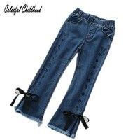 Primavera Meninas Denim Calças Jeans Azul Da Menina Da Criança Macio Crianças Crianças borla Outono Calças Crianças arco Dot Calças leggings meninas