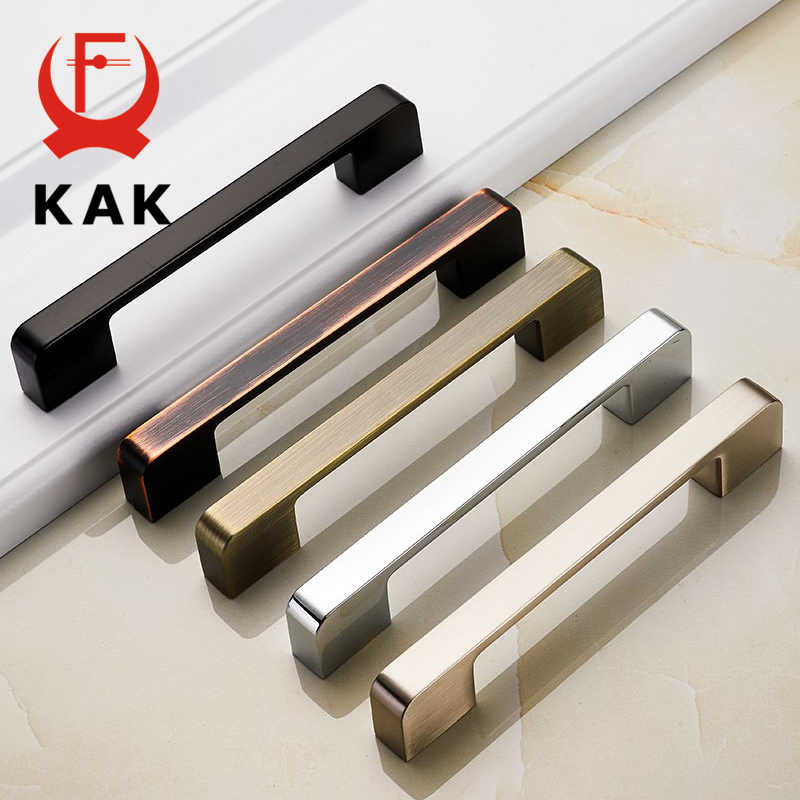 KAK Zinc Aolly Black Cabinet Handles American style Kitchen Cupboard Pulls Drawer Knobs Fashion Furniture Handle Door Hardware