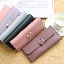 NEW Style Love Women's Purse Cross Pattern Long Section 3 Folding High Capacity Card Holder Clutch Wallets Carteira Feminina(China)