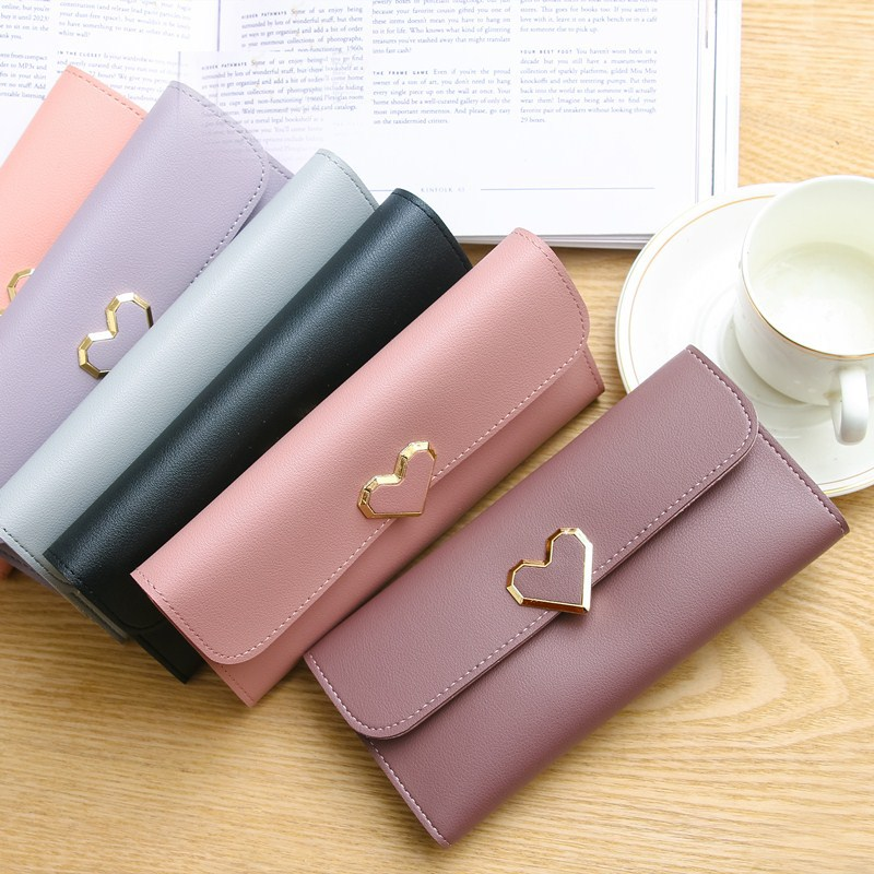 NEW Style Love Women's Purse Cross Pattern Long Section 3 Folding High Capacity Card Holder Clutch Wallets Carteira Feminina