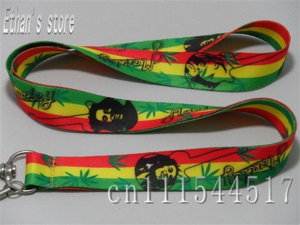 Free shipping  Bob Marley  key lanyard hand made fabric badge ID holders cell phone keychain lots