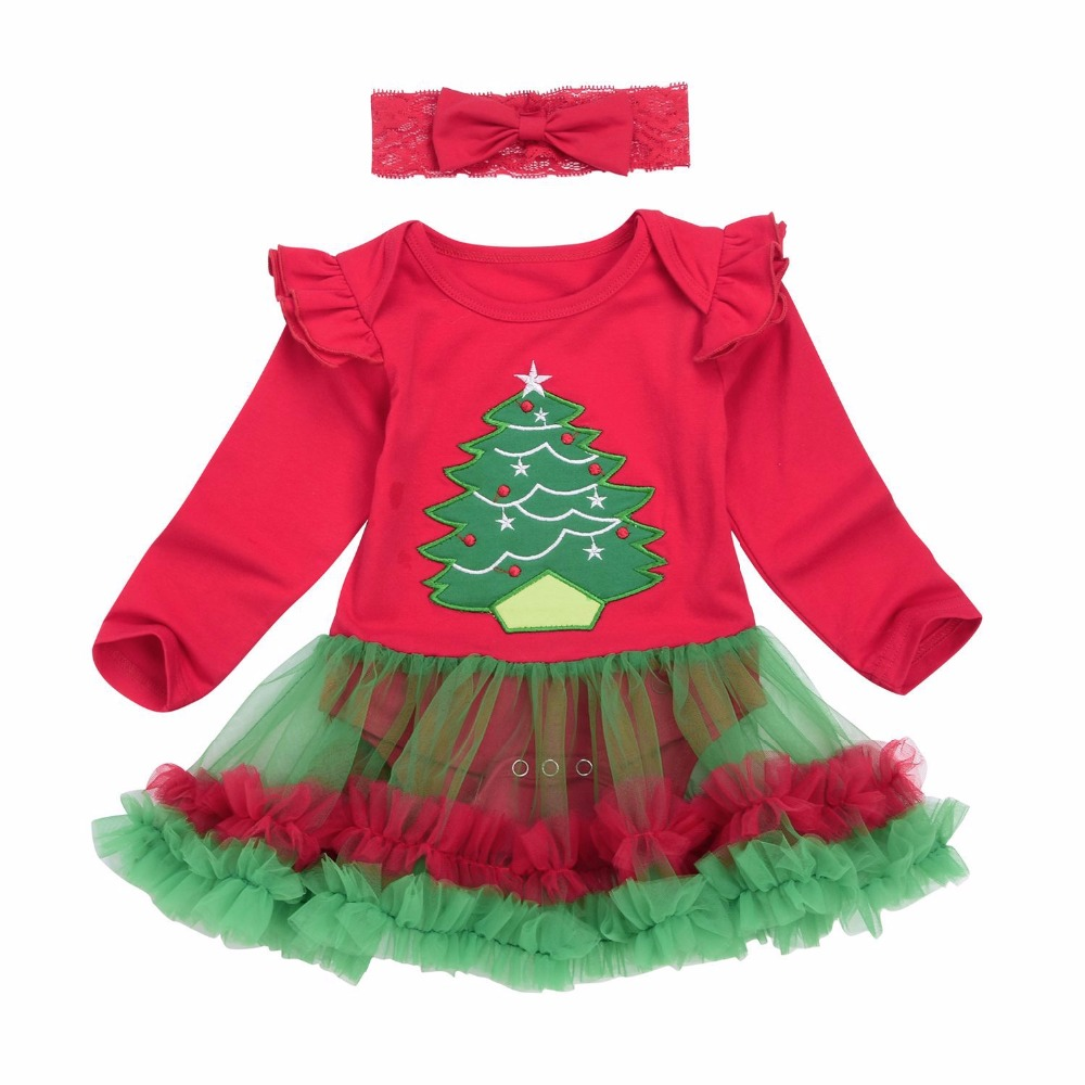 1df013ee414 2017 Newborn Baby Girls Christmas Costumes Headband + Long Sleeve Romper  Dress Clothes Set Infant Toddler ...