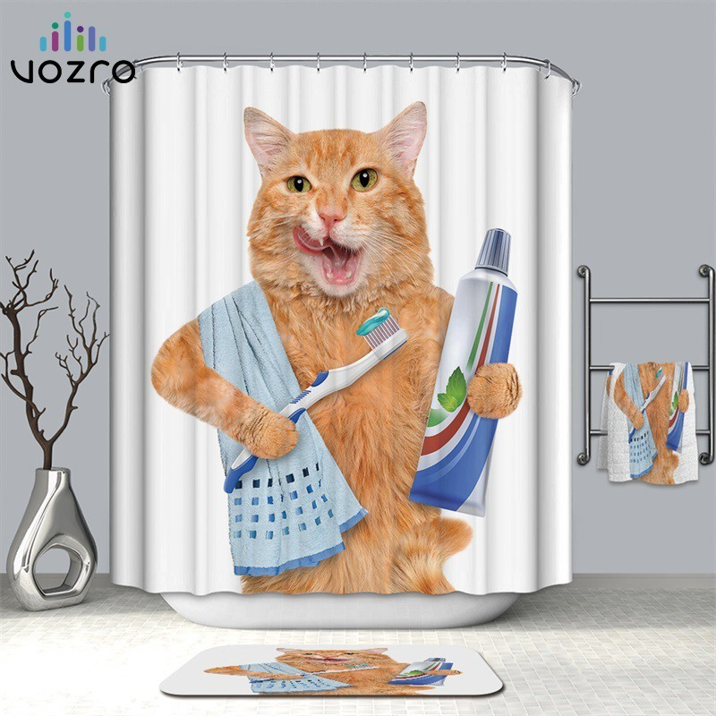 VOZRO Waterproof 3d Lovelycat Decorative Bathroom Shower Curtain Bape Cortina Rideau De Douche Wedding Decoration Douchegordijn-in Shower Curtains from Home & Garden