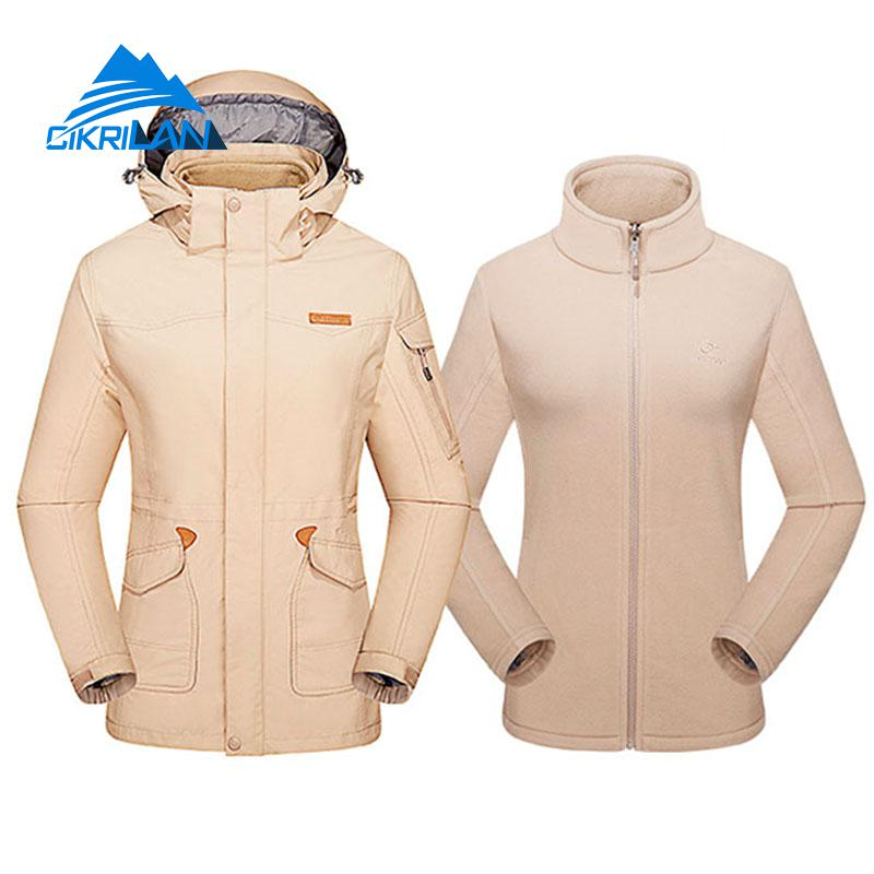 2in1 Long Winter Windproof Waterproof Outdoor Jacket Women Fleece Liner Hooded Hiking Camping Skiing Coat Ladies Fishing Jackets