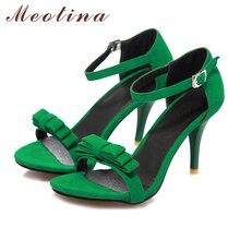 Women Sandals 2017 Summer Size 10 9 Ankle Strap High Heels Sandals Shoes Woman Sandals Bow