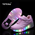 Size 27-37//  Basket Roller shoe led children's Light Up Kids Casual Boys&Girls Luminous Sneakers Glow Shoe With Wheels enfant