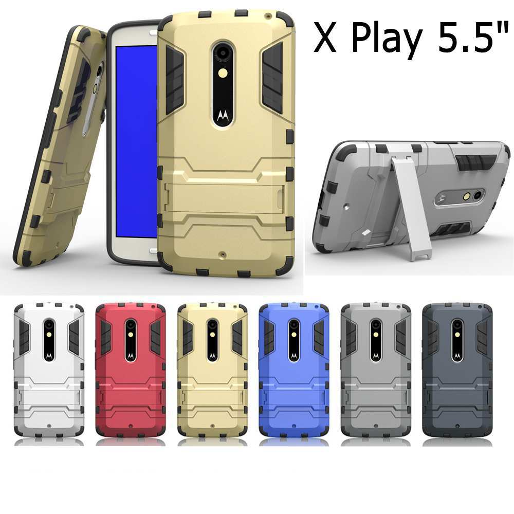 Fashion Armor 2 in 1 metal plating plastic with silicon hard stand holder Combo case cover for Motorola Moto X Play XT1562