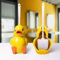 Creative Cartoon duck Shape Lavatory Brush Toilet Brush & Holder Set Cleaning Tool Plastic Bathroom Decor Accessories mx3051646