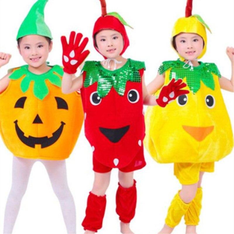 656eba87a 5 قطعة/الوحدة شحن مجاني الفاكهة الخضار النباتات تصميم الاطفال الفتيان  الفتيات عرض مسرحي كرنفال ملابس الأطفال ملابس تنكرية ازياء