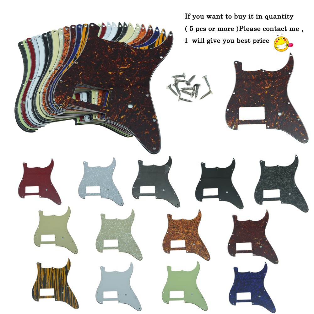 KAISH 11 Hole ST Strat One Humbucker Guitar Pickguard Scratch Plate Fits Fender Delonge Various Colors kaish various colors st style hss guitar pickguard scratch plate trem cover screws
