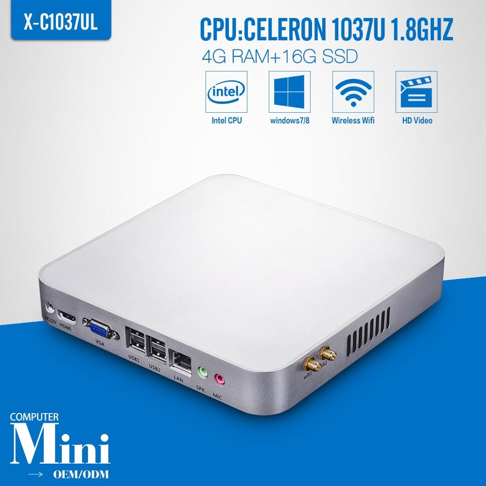 Mini computer Celeron C1037U 4GB RAM 16GB SSD WIFI Network Computer Thin Client Support Home Premium