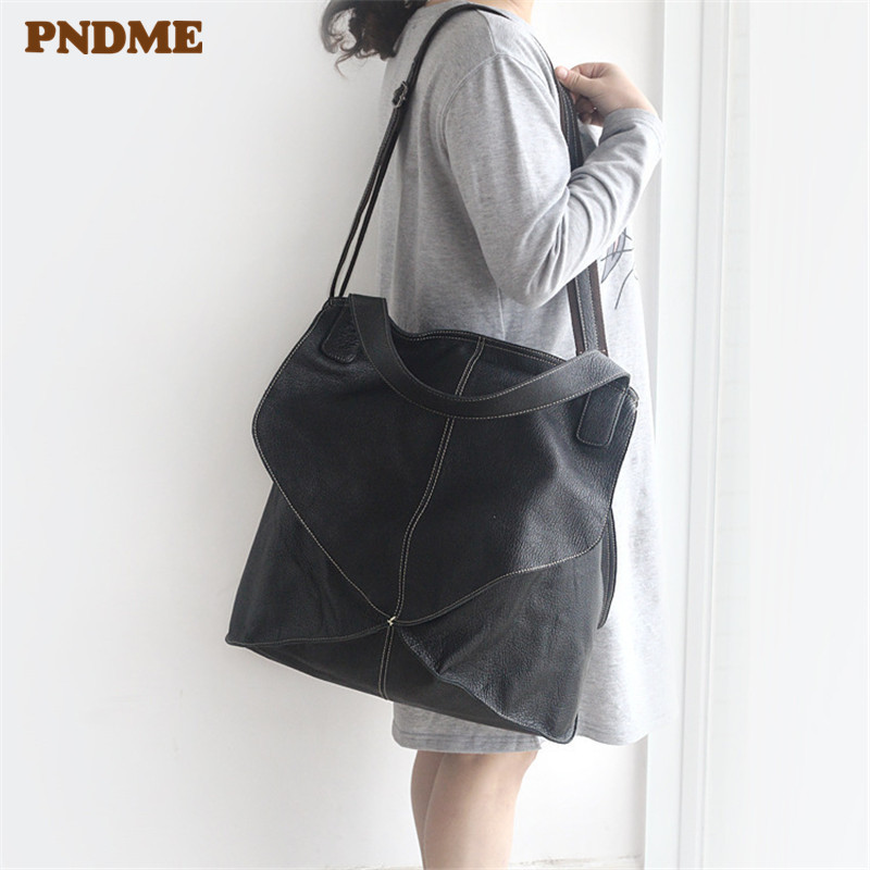 PDNME star genuine leather women's shoulder bag vintage fashion handbag Messenger bag dropshipping cowhide cross tote