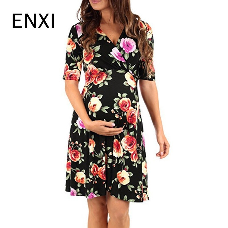 ENXI 2018 Spring Summer Sexy Pregnancy Clothes Dress Deep V Neck Half Sleeve Maternity Dresses For Plus Size WomenENXI 2018 Spring Summer Sexy Pregnancy Clothes Dress Deep V Neck Half Sleeve Maternity Dresses For Plus Size Women