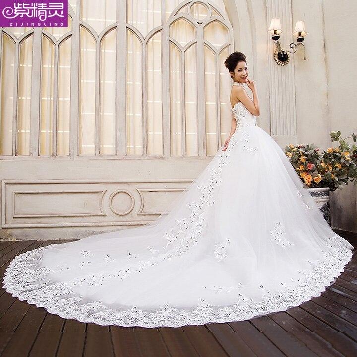 Purple fairy wedding dress new 2014 long tailed bride bra large code ...